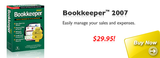 Buy Bookkeeper 2007: Easily manage your sales and expenses.