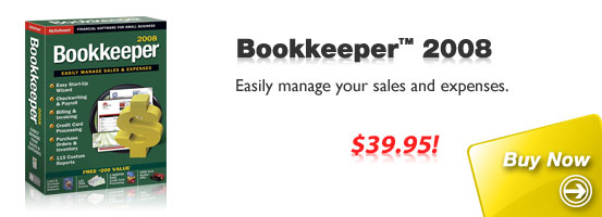 Buy Bookkeeper 2008: Easily manage your sales and expenses.